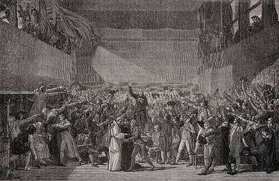 Tennis Drawing - Tennis Court Oath At Jeu De Paume, 20th by Vintage Design Pics