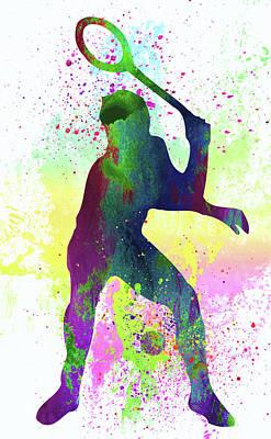 Sportsman Digital Art - Tennis Player by Elena Kosvincheva