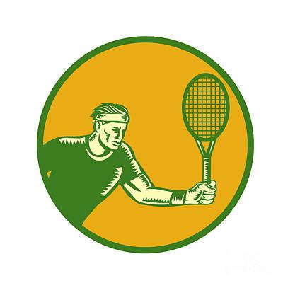 Tennis Player Forehand Circle Woodcut Print by Aloysius Patrimonio