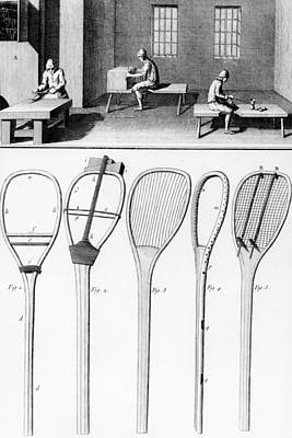 Tennis Drawing - Tennis Rackets by French School