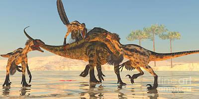 Tenontosaurus Attack Print by Corey Ford