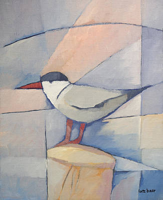 Handpainted Painting - Tern On Bollard by Lutz Baar