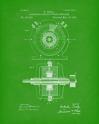 Tesla Generator 1891 Patent Art Bright Green Print by Prior Art Design