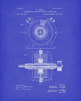 Tesla Generator 1891 Patent Art Dark Blue Print by Prior Art Design