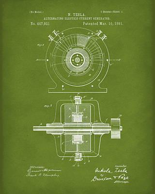 Tesla Generator 1891 Patent Art Green Print by Prior Art Design