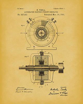 Tesla Generator 1891 Patent Art Light Brown Print by Prior Art Design