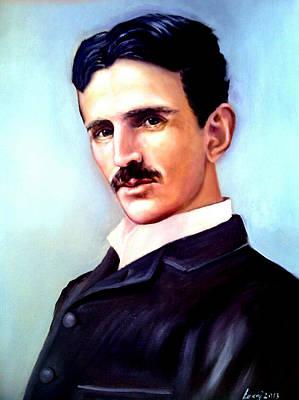 Portrait Painting - Tesla by Rok Lekaj