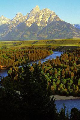 Teton Peak And Snake River Original by Alan Lenk