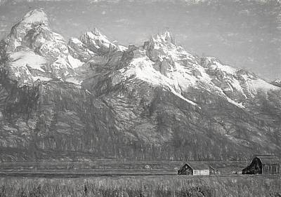 Yellowstone Mixed Media - Teton Range Charcoal Sketch by Dan Sproul