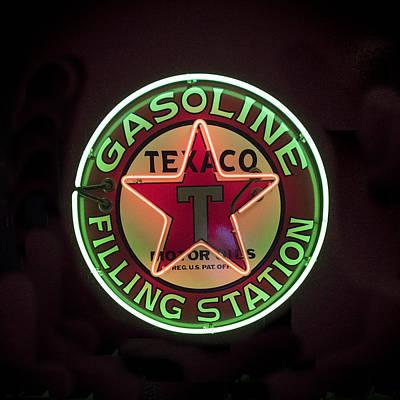 Coca-cola Sign Photograph - Texaco Neon Sign by Jon Berghoff