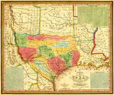 Map Digital Art - Texas 1835 by Gary Grayson