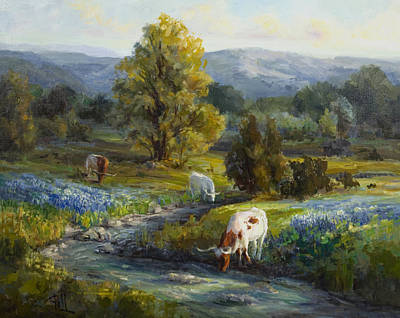 Texas Hill Country Painting - Texas Bluebonnets And Longhorns by Lilli Pell