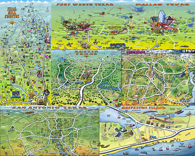 Map Digital Art - Texas Fun Maps by Kevin Middleton