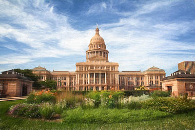 Fluttering Photograph - Texas Impressions Texas State Capitol by Joan Carroll