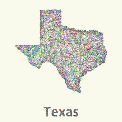 Austin Drawing - Texas Line Art Map by David Zydd
