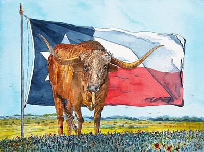 Steer Painting - Texas  by Don Hand