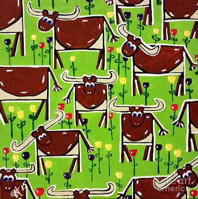 Steer Painting - Texas Longhorn Herd by Jackie Carpenter