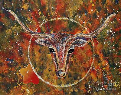Steer Painting - Texas Longhorn by Tamyra Crossley