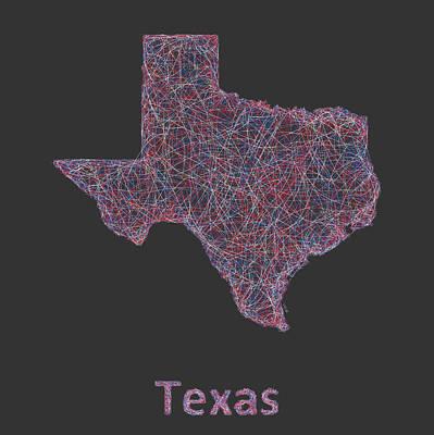 Austin Drawing - Texas Map by David Zydd
