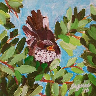 Mockingbird Painting - Texas Mockingbird by Suzaine Smith