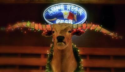 Decorated For Christmas Photograph - Texas Reindeer by Nadalyn Larsen
