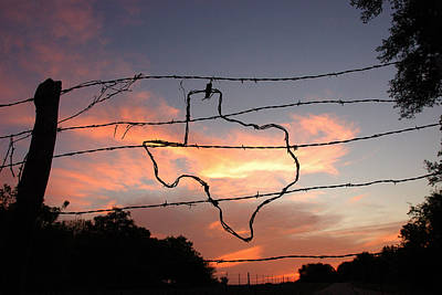 Wire Photograph - Texas Sunset by Robert Anschutz