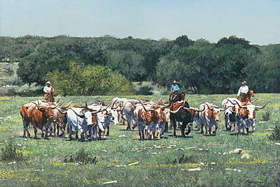Cattle Drive Painting - Texas Tradition  by Ragan Gennusa