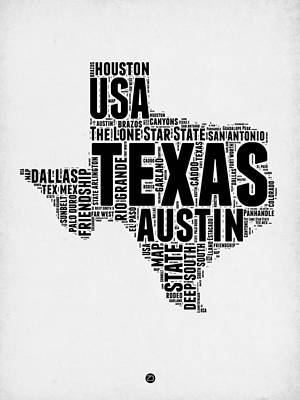 Texas Word Cloud 2 Print by Naxart Studio
