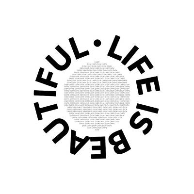 Text Art Life Is Beautiful - Carpe Diem Print by Melanie Viola