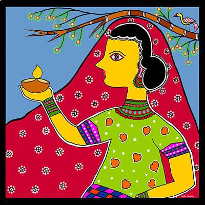 Madhubani Digital Art - Thamasoma Jyothirgamaya by Latha Gokuldas Panicker