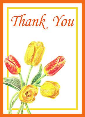 Watercolor Painting - Thank You Tulips by Irina Sztukowski
