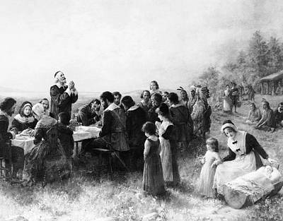 Prayer Drawing - Thanksgiving At Plymouth, Massachusetts by American School