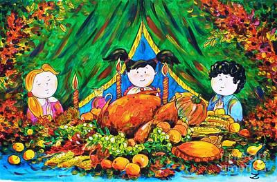 Meal Painting - Thanksgiving Day by Zaira Dzhaubaeva