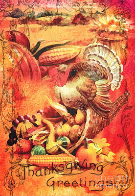 Turkey Mixed Media - Thanksgiving by Mo T