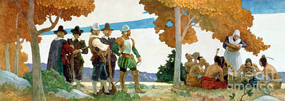 Dinner Painting - Thanksgiving With Indians by Newell Convers Wyeth