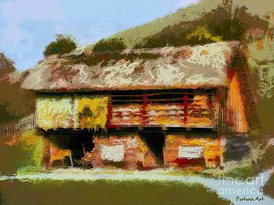 Barn Painting - Thatched Barn by Dragica Micki Fortuna