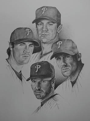 Cole Hammels Drawing - The 4 Aces by Paul Autodore