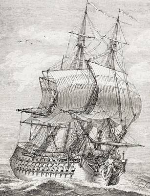 French Open Drawing - The 58 Gun Frigate Of The French Navy by Vintage Design Pics