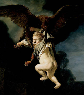 Greek Mythology Painting - The Abduction Of Ganymede by Rembrandt