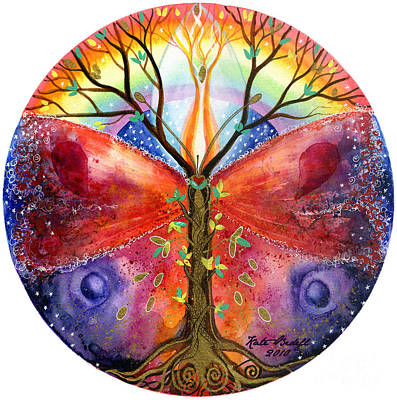 Tree Of Life Painting - The Ace Of Wands Mandala by Kate Bedell