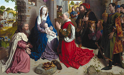 Adoration Painting - The Adoration Of The Kings, Monforte Altar by Hugo van der Goes