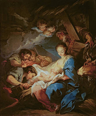 Lamb Of God Painting - The Adoration Of The Shepherds by Charle van Loo