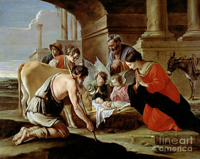 Christmas Greeting Painting - The Adoration Of The Shepherds by Louis Le Nain