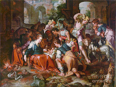 The Adoration Of The Shepherds Print by MotionAge Designs