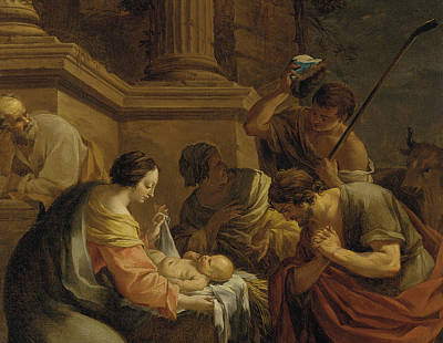 Adoration Of The Shepherds Shepherd Infant Jesus Christ Baby Child Joseph Painting - The Adoration Of The Shepherds by Nicolas Chaperon