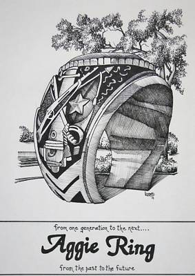 University Of Arizona Drawing - The Aggie Ring by Barbara Gilroy