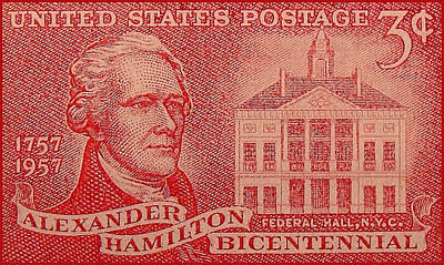 Federal Government Painting - The Alexander Hamilton Stamp by Lanjee Chee