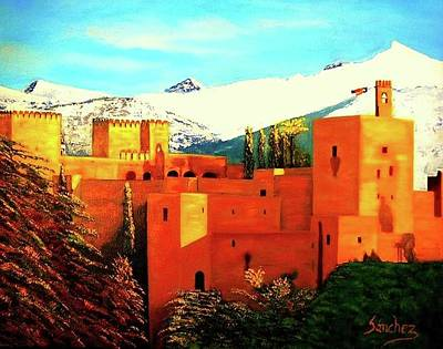 The Alhambra Of Granada Print by Manuel Sanchez