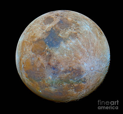 Tycho Photograph - The Almost Full Moon In Color by Luis Argerich