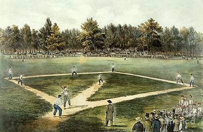 Landmarks Painting - The American National Game Of Baseball Grand Match At Elysian Fields by Currier and Ives